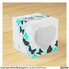 Grey Aqua Butterfly Bouquet Trail Wedding Favors Favor Box