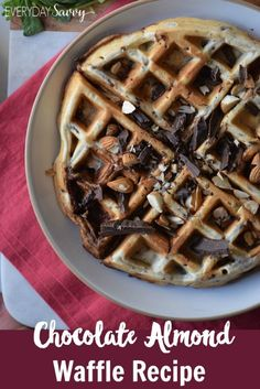 This chocolate almond gluten free waffle recipe is so easy to make with just a…