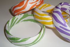 Animal Print bracelets in colorful Zebra print by Funkychunkies, $12.95