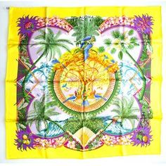 """Hermes Silk Scarf """"Aloha"""" by Laurence Bourthoumieux - authentic and excellent"""