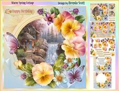 Warm Spring Cottage on Craftsuprint - View Now! Warm Spring, Cottage Design, Floral Wreath, Card Making, Happy Birthday, Cards, Home Decor, Happy Brithday, Cabin Design