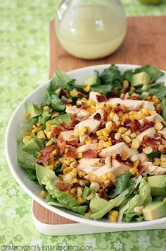 Chicken Bacon and Corn Salad with Avocado - Tender rotisserie chicken comes together with bacon, avocado, grilled corn and romaine lettuce in a honey lime vinaigrette to make a bright and tasty salad. Chicken Bacon, Rotisserie Chicken, How To Cook Chicken, Chicken Recipes, Salad Bar, Soup And Salad, Honey Lime Vinaigrette, Salad Recipes, Healthy Recipes