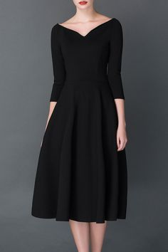 A Line Midi Hepburn Dress Click on picture to purchase! V Neck Midi Dress b552ef295