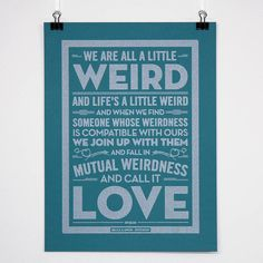 personalised 'weird love' wedding poster