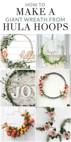8 Inspiring Hula Hoop Wreath Ideas to Make for any Season : How to Make a Giant. - My Diy - 8 Inspiring Hula Hoop Wreath Ideas to Make for any Season : How to Make a Giant Wreath from Hula H - Diy Home Crafts, Diy Crafts To Sell, Diy Crafts For Kids, Diy Home Decor, Decor Crafts, Home Craft Ideas, Kids Diy, Decor Ideas, Sell Diy