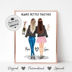 Bestie Gifts, Sister Gifts, Gifts For Friends, Best Friends, Personalized Best Friend Gifts, Customized Gifts, Custom Gifts, Friends Poster, Friend Birthday Gifts