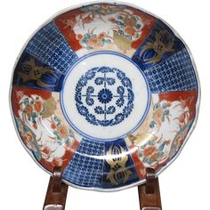 Antique Imari Ironstone Dinner Bowl Circa 1860 Edo Period Blue /& White VERY NICE