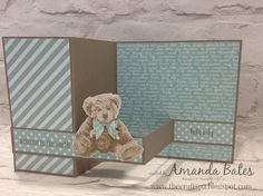 The Craft Spa - Stampin' Up! UK independent demonstrator - Order Stampin Up in UK: Project Life All Year Long & and an update on Baby Bear! Z Cards, Kids Cards, Fancy Fold Cards, Folded Cards, Baby Shower Cards, Baby Cards, Stampin Up Anleitung, Bear Card, Shaped Cards