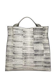 NEW SEASON - Jil Sander Womens Xiao Python Leather Tote Bag
