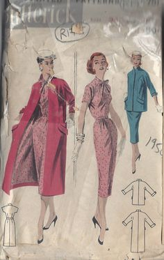 1950s Vintage Sewing Pattern B34 DRESS & COAT R175 by tvpstore