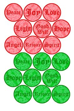 "Free Bottle cap Images - Holiday Words, Formatted for printing on 4"" x 6"" photo paper"