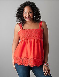 Smocked eyelet tank ($45 from Lane Bryant)