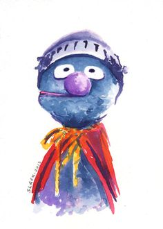 Super Grover 5x7 print by DougThings on Etsy