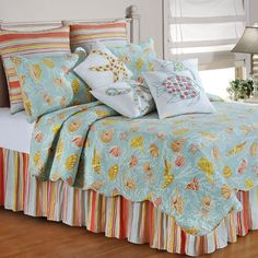 St Martin Coastal Seashell Quilt Bedding lindsey check these pillows out