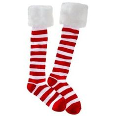Women's Holiday Knee Socks - Red and White Stripes by Target. $16.96. Red and White Stripes with a white fuzzy faux fur cuff around the top!. Machine wash cold with alike colors, tumble dry with low heat!. Women's Holiday Knee Socks - Red and White Stripes. One Size Fits most! Made of mostly polyester!. These adorable socks are great for the holidays! They are red and white striped with white faus fur cuffs! Fit sizes 4-10.