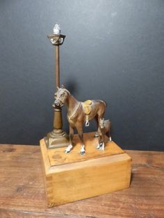 Your place to buy and sell all things handmade Vintage Lamps, Vintage Lighting, Inside The Box, Vintage Horse, Solid Brass, Night Light, Horses, Handmade, Stuff To Buy