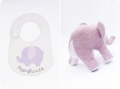 lavender elephant and bib | por countrykitty