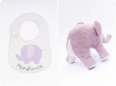 lavender elephant and bib | por countrykitty