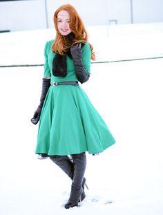 green 50s style dress