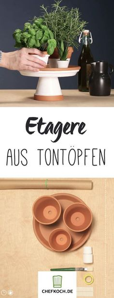 DIY: Küche verschönern It's so easy to build a pretty etagere for fresh herbs yourself. Garden Crafts, Diy Garden Decor, Diy Home Decor, Diy Design, Diy Simple, Easy Diy, Boho Diy, Boho Decor, Cuisines Diy