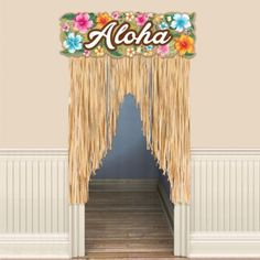 hawaiian luau party Show your guests the way to paradise with a Hawaiian Hibiscus Fringe Doorway Curtain! With natural fringe that resembles a grass skirt this plastic door curtain Aloha Party, Hawaii Birthday Party, Luau Theme Party, Hawaiian Luau Party, Hawaiian Birthday, Tiki Party, Tropical Party, Hawaiin Theme, Hawaiian Party Supplies
