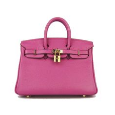 Hermes Pink 25CM Birkin Clemence Leather Bag With Gold HW Product Model: Hermes Birkin 25CM  Availability: In Stock  Color: Pink / Gold  Material: Calf Leather  Size: W25×H18×D13CM  Package: Hermes dust pouch, padlock, keys and key ornaments  Shipping: Free Price: $219