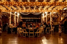 Barn reception with white lights everywhere :)