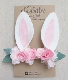 Bunny Ears Headband Bunny Costume Bunny Headband by VivibellesBows Bunny Ears Headband, Felt Headband, Ear Headbands, Elastic Headbands, Baby Bunny Ears, Toddler Headbands, Felt Crafts, Easter Crafts, Diy And Crafts