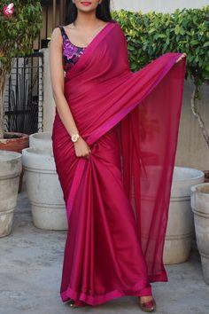 Buy Garnet Silk Georgette Dupion Silk Taping Saree online in India Simple Sarees, Trendy Sarees, Stylish Sarees, Fancy Sarees, Sari Blouse, Sari Dress, Saree Blouse Designs, Floral Blouse, Sari Design
