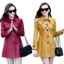 Tag a friend who would love this!     Refreshing arrival 2017 New Brand Women Leather Jacket Stand Collar Ladies Elegant Red Leather Trench Coat Female Clothing Outwear Big Size L-5XL now available $US $52.48 with free shipping  yow will discover this unique piece as well as far more at our eshop      Get it today at this site…