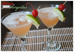 Cherry Beer Margaritas- Corona, cherry 7up, limeade and tequila- so refreshing! @shugarysweets