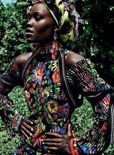 Lupita Nyong'o in Vogue fashion editorial shot by Mario Testino in Kenya
