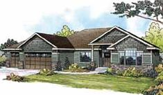 Craftsman Style House Plans - 2316 Square Foot Home, 1 Story, 3 Bedroom and 2 3 Bath, 3 Garage Stalls by Monster House Plans - Plan 17-843
