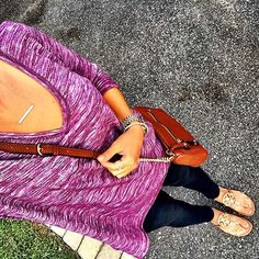 IG @mrscasual <click through to shop this look> Burgundy tunic sweater. Skinny jeans. Tory burch Miller sandals. Cognac cross body bag.