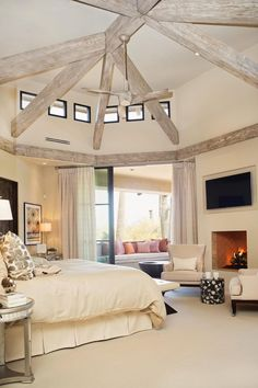 Transitional Master Bedroom Features Clerestory Windows & Soft Ivory Palette- Would Be a Great Vaction at Home Master