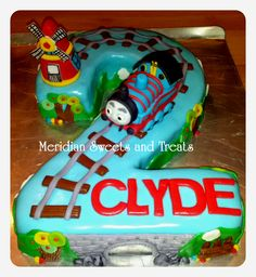 """Thomas the train cake for a two year old by FB page """"Meridian Sweets and Treats."""" #traincake, #thomasthetrain, train birthday, second birthday."""
