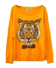 Long Sleeves Round Neckline Pullover with Tiger Print