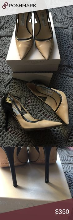 Jimmy Choo Vera Patent Pumps Two toned, nude/black combo pumps. Perfect with any outfit. These are preowned and loved and my first designer shoes I purchased for myself. Sad to let them go but I need to make room in my closet! I had these for 3 years. Size 37 which fits 6.5-7. Comes with dust bag and box. Price negotiable. Jimmy Choo Shoes Heels