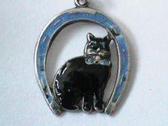 Vintage Silver Enamel Lucky Black Cat Horseshoe Charm  vintage silver cat charms - Google Search