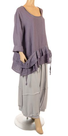 Completo Lino Prettiest Weiche lila Bettwäsche Lace Tunika - Sommer 2013-Completo Lino, Frauen plus size UK Kleidung