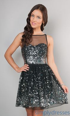 Sleeveless Party Dress, Sequin Illusion Dresses - Simply Dresses
