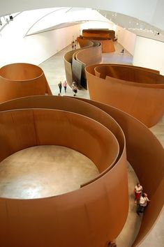 "Richard Serra, ""The Matter of Time"", 2005, installation of eight sculptures of steel sheets, 12-14 ft high and 44-276 tons, Guggenheim Museum, Bilbao, Spain."