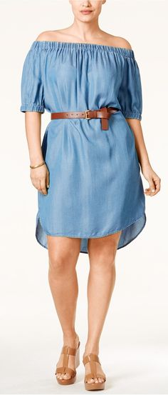 Plus Size Off-the-Shoulder Denim Dress