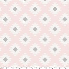 Blush Pink and Gray Aztec Fabric by the Yard | Pink Fabric | Carousel Designs