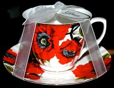 GRACE'S TEAWARE TEACUP & SAUCER SET RED POPPY FLORAL GOLD RIM PORCELAIN NEW #GRACESTEAWARE