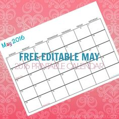Free Printable Calendar May 2016 - Perfect for meal planning, exercise schedules, cleaning schedules and more!