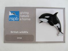 Charity Pin Badge RSPB Giving Nature A Home Orca Enamel British Wildlife