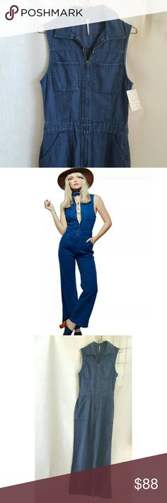 "Free People ""Wind and More"" Denim Jumpsuit A great denim flare leg jumpsuit.  NWOT Free People Jeans Flare & Wide Leg"