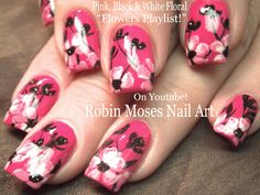 Nail Art until a chicken laid an egg!! #nailart #nails #nail #art #howto #pink #diy #design #tutorial #simple #easy #flowers #blackandwhite #floral #trendynails #cutenails #diy