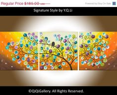 Acrylic painting Love Birds Abstract tree art  by QiQiGallery